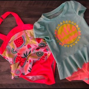 Set of 2 Girls Toddler Bathing Suits - size 2T
